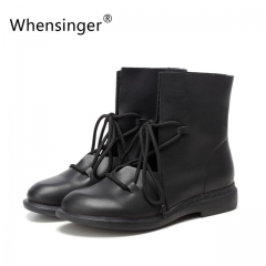 Whensinger  Women Shoes Female Patent Leather Fashion Boots Solid Lace-Up Handmade Vintage Elegant black 5