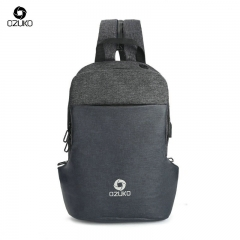 OZUKO  new fashion men's shoulder bag casual waterproof diagonal bag camouflage small backpack black one size