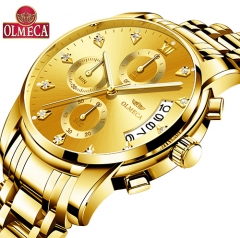 Mens Watches Top Brand Luxury OLMECA Clock Relogio Masculino 3ATM Waterproof Watches Chronograph whole gold one size
