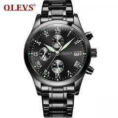OLEVS relogios masculino Men's watch top brand luxury Stainless Steel montre hommes steel all black one size