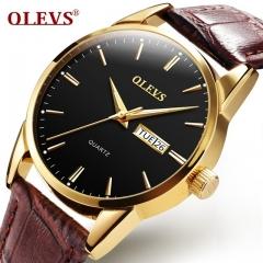 Mens watches top brand luxury OLEVS Business Casual Clock male waterproof Quartz Wrist watches men brown black one size