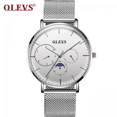 Watch men Waterproof Fashion Auto date relogio masculino montre homme High quality Japan Quartz silver white one size