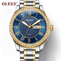 Watch Men Fashion Rhinestone MIYATO Quartz Clock Mens Watches Top Brand Luxury Steel Business gold blue one size