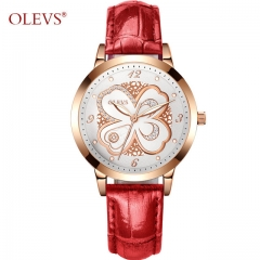OLEVS Watch Woman Rose Gold Mesh Steel Fashion Leather Waterproof Luminous Hands Dress Women's Watch red belt white one size