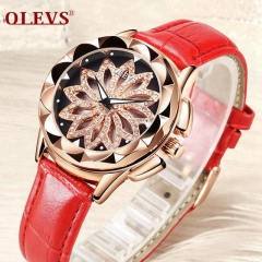 OLEVS Woman Watches 2018 Top Brand Luxury Ladies Fashion Clock Quartz Watches Relogio Feminino Dial red lady one size