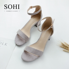 SOHI 1 Pair Simple Design Suede Buckle Strap Thick Toe High Heels Sandals Women'S Shoes light gray 35