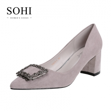 SOHI 1 Pair Diamond Suede Pointed Toe Thick Heel Pumps High Heels Women'S Shoes light gray 34