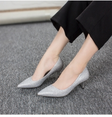 1 Pair PU Pointed Toe Thin Heel Pumps Weeding High Heels Women'S Shoes silver 36