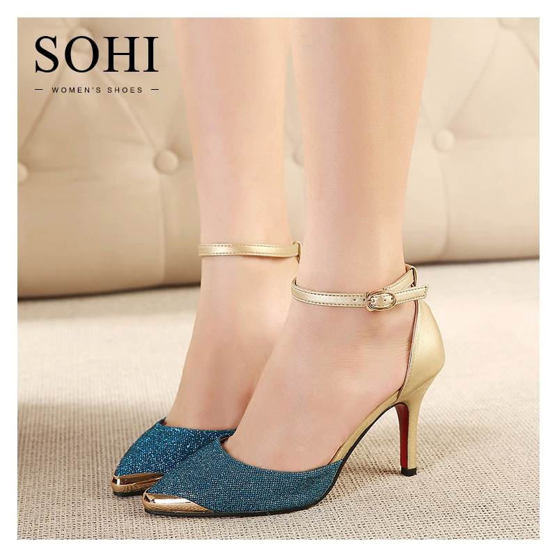f1d6960fd28 SOHI 1 Pair PU Buckle Strap Pointed Toe Thin Heel Pumps High Heels Sandals  Women S Shoes blue 35  Product No  1820856. Item specifics  Seller SKU SOHI-00054  ...