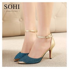 SOHI 1 Pair PU Buckle Strap Pointed Toe Thin Heel Pumps High Heels Sandals Women'S Shoes blue 35