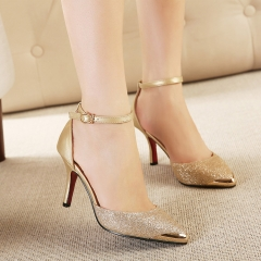 SOHI 1 Pair PU Buckle Strap Pointed Toe Thin Heel Pumps High Heels Sandals Women'S Shoes gold 35