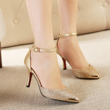 SOHI 1 Pair PU Buckle Strap Pointed Toe Thin Heel Pumps High Heels Sandals Women'S Shoes gold 39