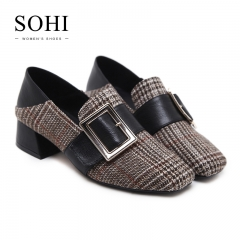 SOHI 1 Pair Suede Grid Metal Buckle Strap Square Toe Causal Thick Heel High Heels Women'S Shoes brown 34