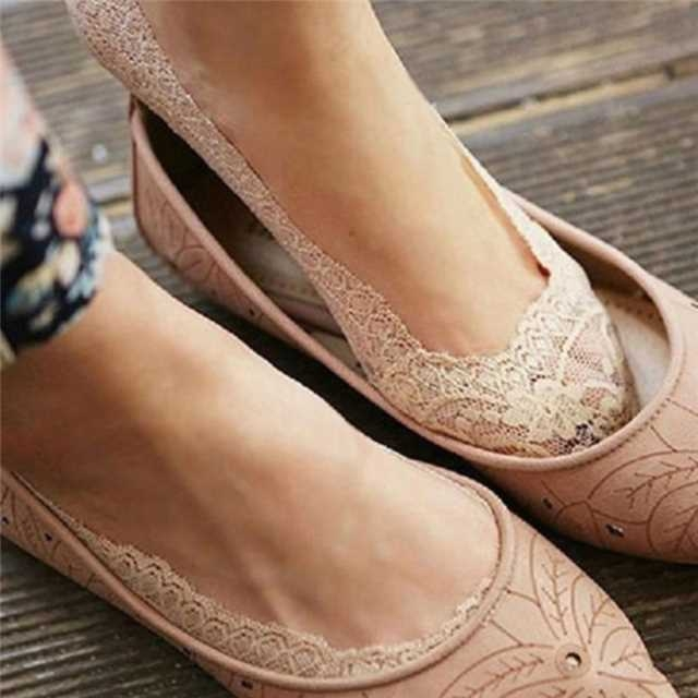 SOHI 1 Pairs Cotton Lace Anti-skid Invisible No Show Ankle Socks Random Color random one size