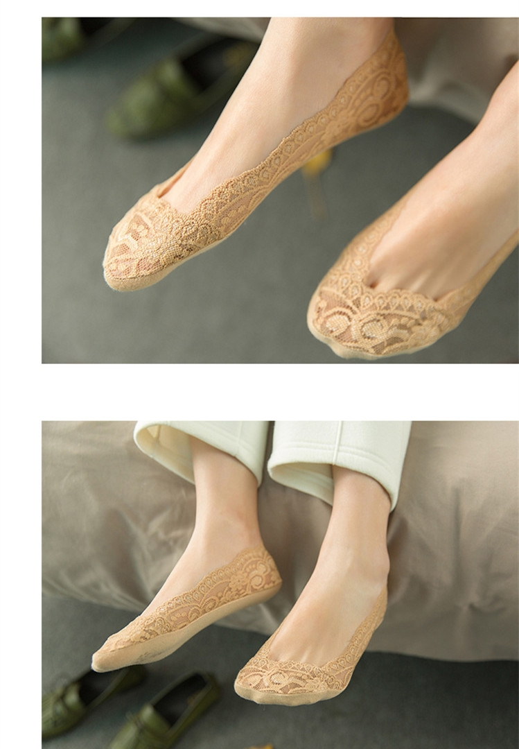 SOHI 1 Pairs Cotton Lace Anti-skid Invisible No Show Ankle Socks Random Color random one size 7