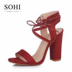 SOHI 1 Pairs Plus Size 34-43 Suede Sexy Bandage Ankle Buckle Strap Sandals High Heels Women'S Shoes red 35