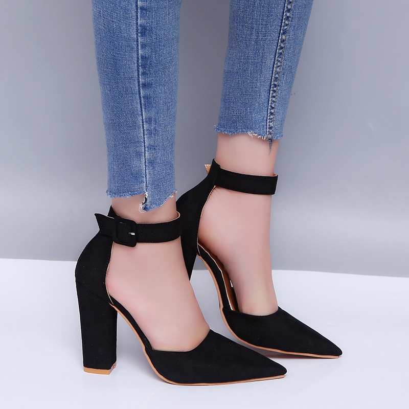 5f8b927cc SOHI 1 Pairs Plus Size 34-43 Suede Buckle Strap Sexy Thick Heel High ...