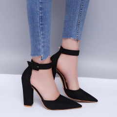 SOHI 1 Pairs Plus Size 34-43 Suede Buckle Strap Sexy Thick Heel High Heels Sandals Women'S Shoes black 38