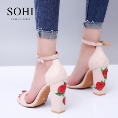 SOHI 1 Pairs Size 34-43 Suede Embroidery Buckle Strap Thick Heel High Heels Sandals Women'S Shoes nude 38