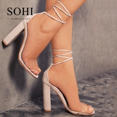 SOHI 1 Pairs Plus Size 34-43 Suede Sexy Transparent Strap Bandage High Heels Sandals Women'S Shoes nude 34