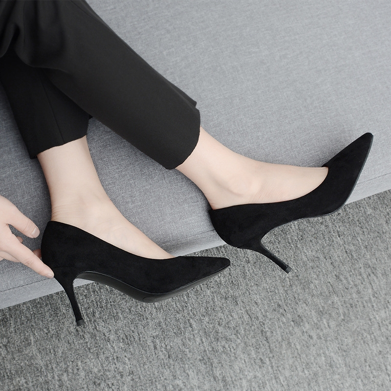 2e9b098a97b SOHI 1 Pair Pointed Toe Suede Classic Black Office Lady High Heels ...