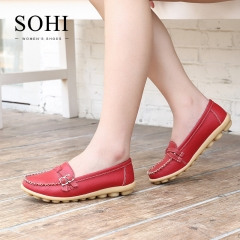 SOHI 1 Pairs Plus Size 34-44 Soft Leather Loafers Shoes Moccasins Ballerinas Flats Women's Shoes red 34