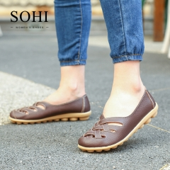 SOHI 1 Pairs Soft Leather Cross Hollow Causal Loafers Shoes Shallow Moccasins Flats Driving Shoes brown 34