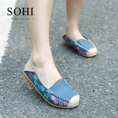 SOHI 1 Pairs Soft Leather Floral Printed Loafers Shoes Slip On Shallow Moccasins Flats Driving Shoes blue 35