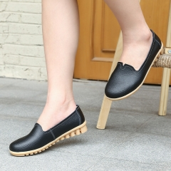 SOHI 1 Pairs Soft Leather Simple Design Loafers Shoes Slip On Shallow Moccasins Flats Driving Shoes black 38