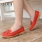 SOHI 1 Pairs Soft Leather Loafers Shoes Bowknot Slip On Shallow Moccasins Flats Driving Shoes wine red 35
