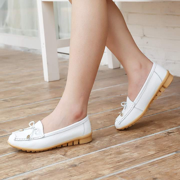 SOHI 1 Pairs Soft Leather Loafers Shoes Bowknot Slip On Shallow Moccasins Flats Driving Shoes white 35