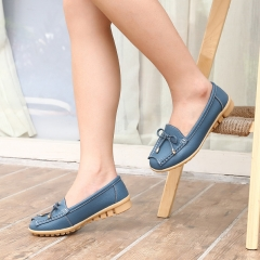 SOHI 1 Pairs Soft Leather Loafers Shoes Bowknot Slip On Shallow Moccasins Flats Driving Shoes blue 36