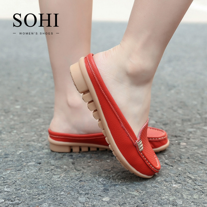 SOHI 1 Pairs Soft Leather Loafers Shoes Hollow Slipper Moccasins Flats Driving Shoes wine red 35
