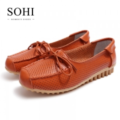 SOHI 1 Pairs Soft Leather Causal Loafers Shoes Bowknot Hollow Moccasins Flats Driving Shoes orange 35