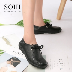 SOHI 1 Pairs Soft Leather Lace-up Loafers Shoes Shallow Moccasins Flats Driving Shoes black 37
