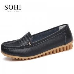 SOHI 1 Pairs Soft Leather Causal Loafers Shoes Slip On Shallow Flats Driving Shoes black 40