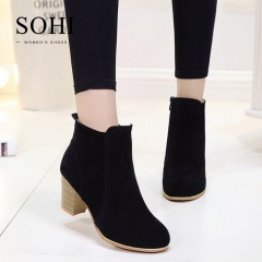 SOHI Winter Clearance Sale  1 Pairs Size 35-41 Suede Ankle Boots Women's Shoes Causal Martin Boots black 40