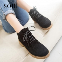 SOHI 1 Pairs Matte British Lace-Up Ankle Boots Women'S Shoes Round Toe Causal Martin Boots black 35