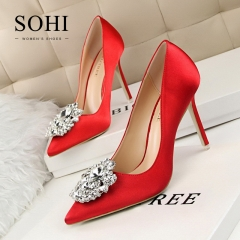 SOHI 1 Pairs Silk Luxurious Diamond Pumps Heels Shoes Pointed Toe Shallow High Heels Women Shoes red 34