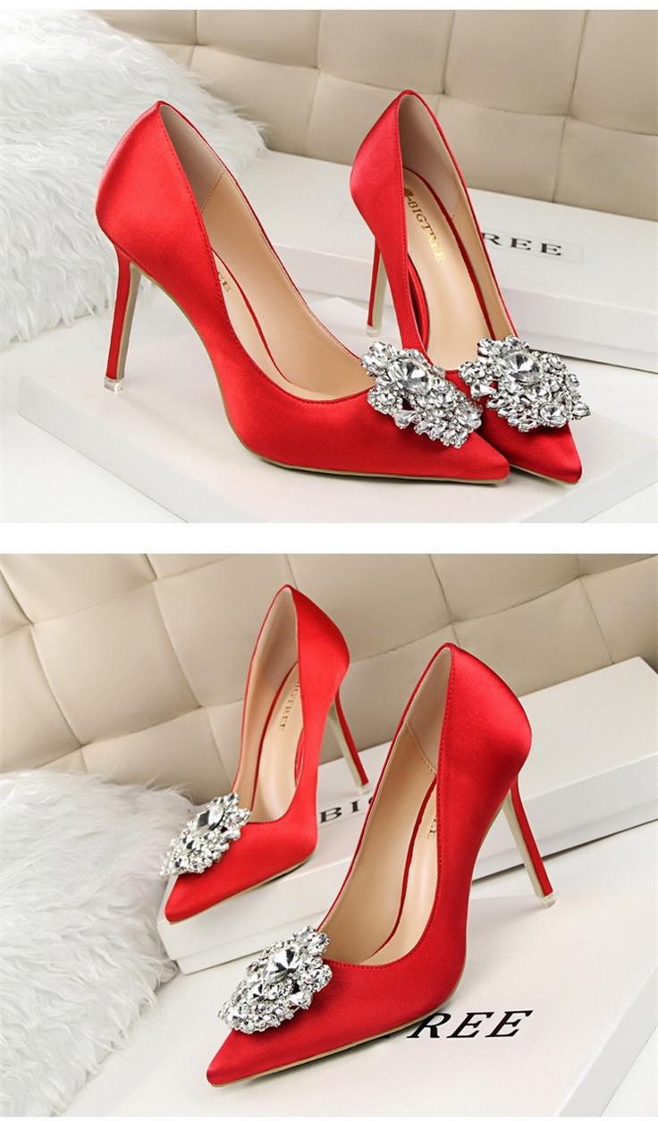 406818b6f2ee SOHI 1 Pairs Silk Luxurious Diamond Pumps Heels Shoes Pointed Toe ...