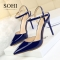 SOHI 1 Pairs PU Pumps Heels Shoes Pointed Toe Buckle Strap High Heels Sandals Women Shoes blue 34