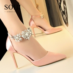 SOHI 1 Pairs Silk Diamond Pumps Heels Sandals Shoes Buckle Strap High Heels Women Shoes pink 34