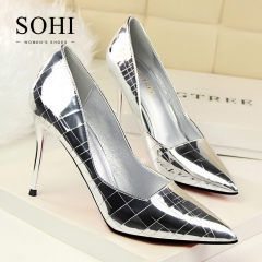 SOHI 1 Pairs Retro Mirror Pumps Heels Shoes Pointed Toe Shallow Sexy High Heels Women Shoes silver 34