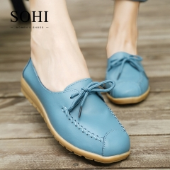 SOHI 1 Pairs Soft Leather Causal Lace-up Loafers Shoes Shallow Moccasins Flats Driving Shoes blue 35