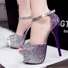 SOHI 1 Pairs Bling Sequin Platform Pumps Heels Shoes Buckle Strap High Heels Sandals Women Shoes purple 34