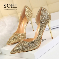 SOHI 1 Pairs Sequin Pumps Heels Shoes Pointed Toe Shallow High Heels Women Shoes gold 34