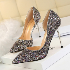SOHI 1 Pairs Sequin Pumps Heels Shoes Pointed Toe Shallow High Heels Women Shoes multicolor 38