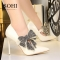 SOHI 1 Pairs PU Diamond Bowknot Pumps Heels Shoes Pointed Toe High Heels Women Shoes white 34
