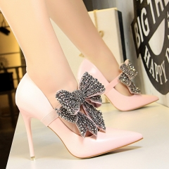 SOHI 1 Pairs PU Diamond Bowknot Pumps Heels Shoes Pointed Toe High Heels Women Shoes pink 40