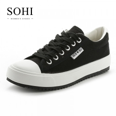 SOHI 1 Pairs Canvas Size 34-39 Comfortable Flat White Shoes Sneakers Canvas Shoes Women Footwear black 34